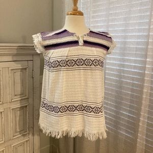 Vintage Serape Terry Cloth Lace Mexican Top